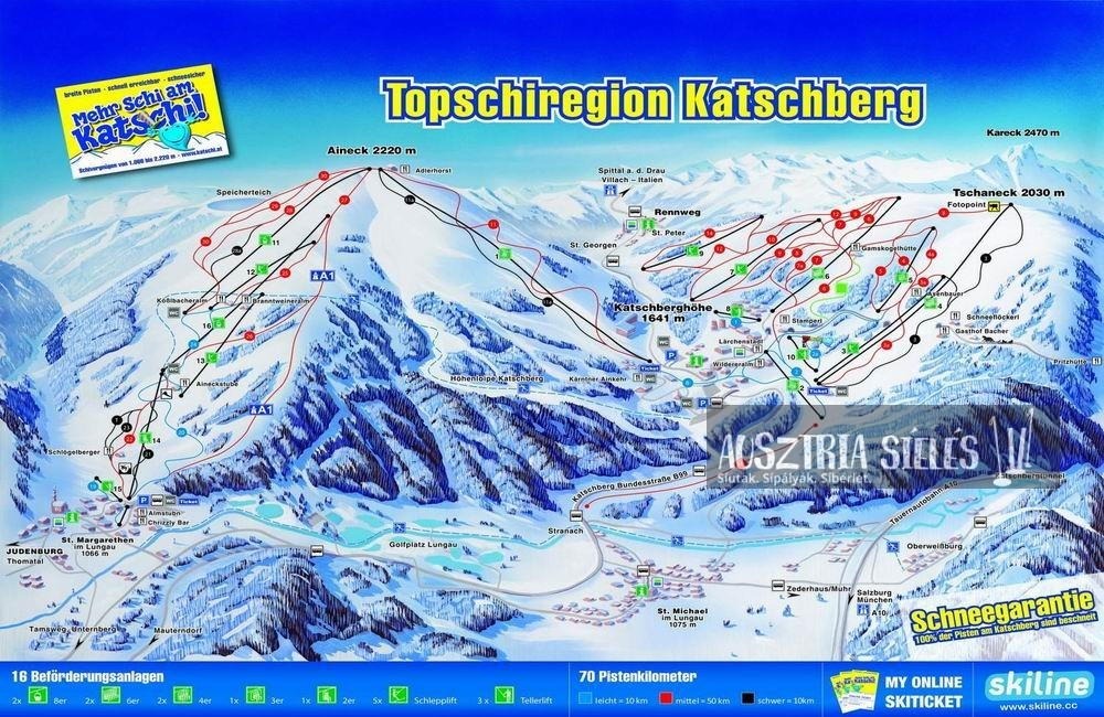 Katschberg sítérkép