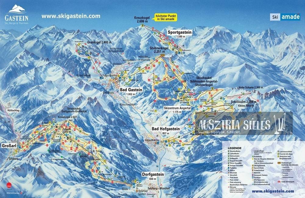 Bad Gastein sítérkép