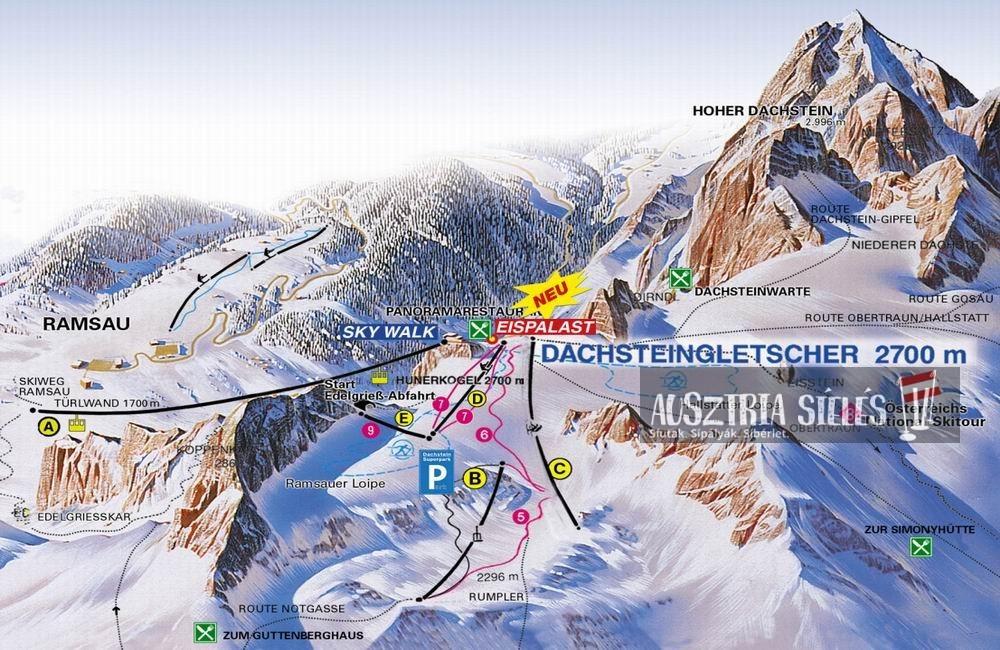 Dachstein-gleccser sítérkép
