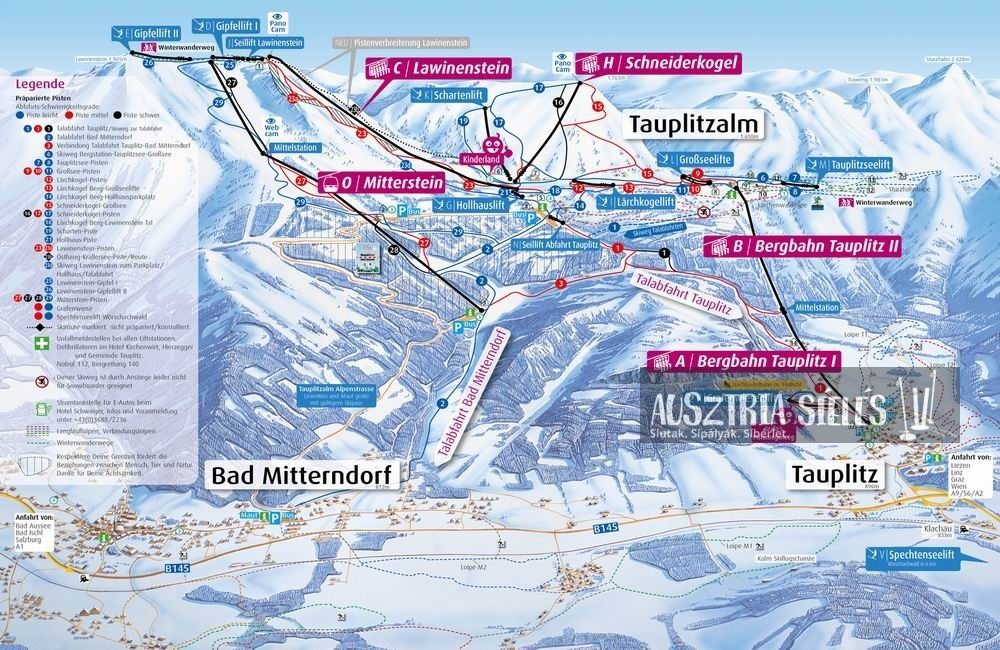 Tauplitz sítérkép